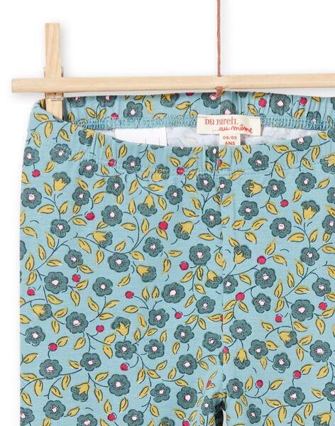 Legging vert kaki imprimé fleuri enfant fille MYAKALEG1 / 21WI01I1CAL612