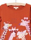T-shirt caramel motif girafes fantaisie enfant fille MACOMTEE3 / 21W901L2TML420