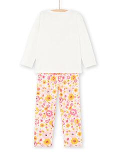Pyjama T-shirt et pantalon blanc et rose enfant fille LEFAPYJLAM / 21SH1156PYJ001