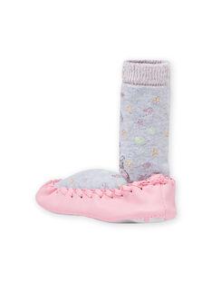 Pantoufles hautes gris chiné motif lama bébé fille MICHO7LAMA / 21XK3721D08943
