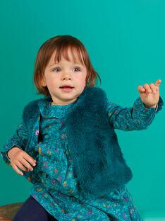 Gilet sans manches bleu canard fausse fourrure bébé fille MITUCAR2 / 21WG09K2CAR714