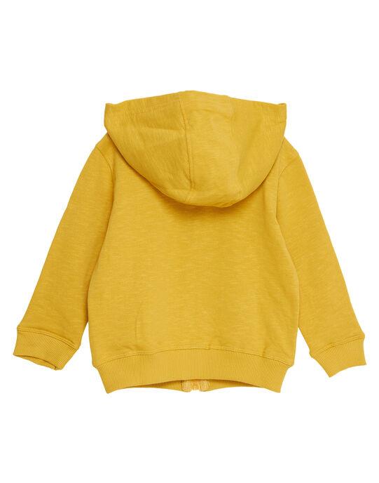 Gilet en molleton jaune garçon avec poche ludique tigre JOTROGIL / 20S902F1GILB116