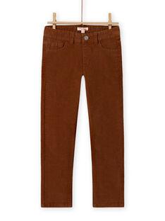 Pantalon en velours côtelé uni marron enfant garçon MOJOPAVEL9 / 21W902N5PAN812