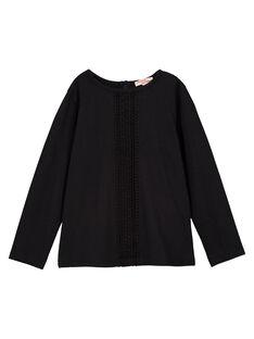 Tee-shirt manches longues noir fille GAJOSTEE1 / 19W90135D32090