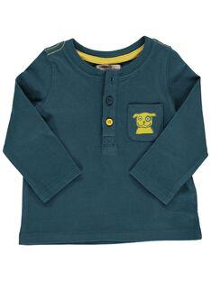 Tee-shirt manches longues bleu canard bébé garçon DUJOTUN2 / 18WG1036TML714