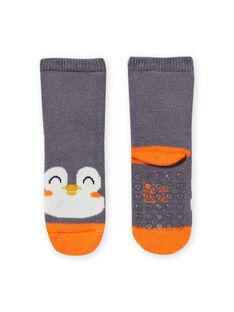 Chaussettes gris à motif pingouin bébé garçon MYUJOCHOB3 / 21WI1015SOQJ918
