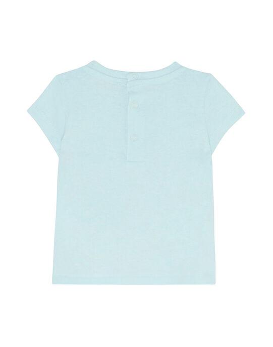 Tee shirt manches courtes bleu glacier layette fille JIQUATI / 20SG09R1TMC219