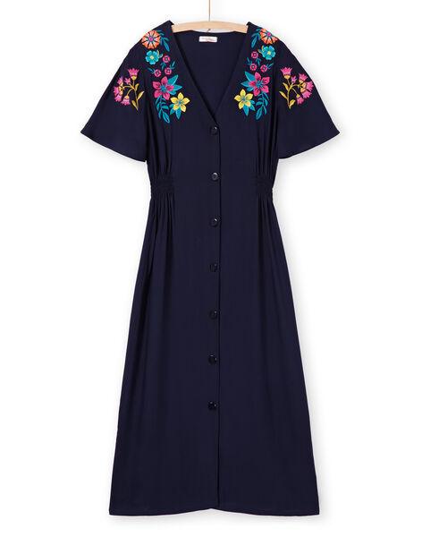 Robe bleu foncé fleurs femme LAMUMROB2 / 21S993Z2ROBC211