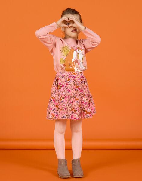 Jupe vieux rose imprimé fleuri fantaisie en velours enfant fille MASAUJUP2 / 21W901P1JUP303