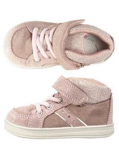 Basket lacet élastiqué croûte de cuir rose bébé fille GBFBASPINK / 19WK37I1D3F030