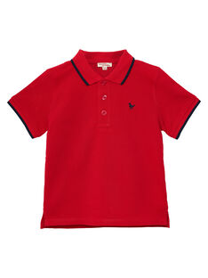 Polo garçon piqué rouge rayé au col JOJOPOL3 / 20S90251D2DF505