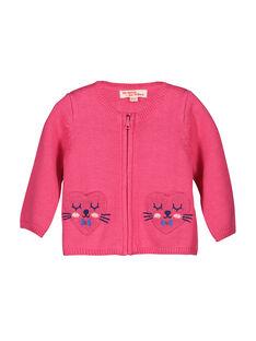 Gilet en maille zippé bébé fille FICOCAR2 / 19SG0982CAR030