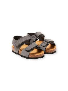 Sandales unies grises bébé garçon LBGNUGRIS / 21KK3855D0E940