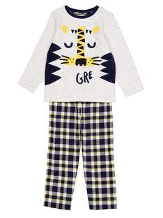 Pyjama gris chiné en velours et bas flanelle enfant garçon GEGOPYJFLA / 19WH12NBPYJJ922