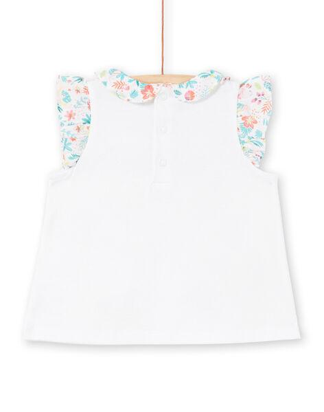 T-shirt blanc à volants bébé fille LIBONBRA / 21SG09W1BRA000
