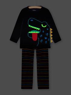 Ensemble pyjama motif dinosaure phosphorescent enfant garçon MEGOPYJDIN / 21WH1293PYJ705