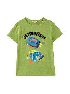 Tee shirt manches courtes vert garçon JOBOTI3 / 20S902H3TMC617