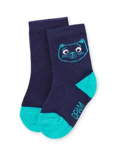 Chaussettes bleues à motifs tête de chat bébé garçon MYUJOCHOU4 / 21WI1011SOQ713