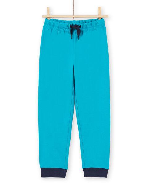 Ensemble pyjama T-shirt et pantalon bleu et blanc enfant garçon MEGOPYJLOU / 21WH1233PYJJ920