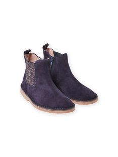 Boots bleu marine détails paillettes enfant fille MABOOTMAR / 21XK3574D0D070