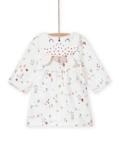 Robe écrue imprimé fantaisie naissance fille MOU1ROB / 21WF0341ROB001