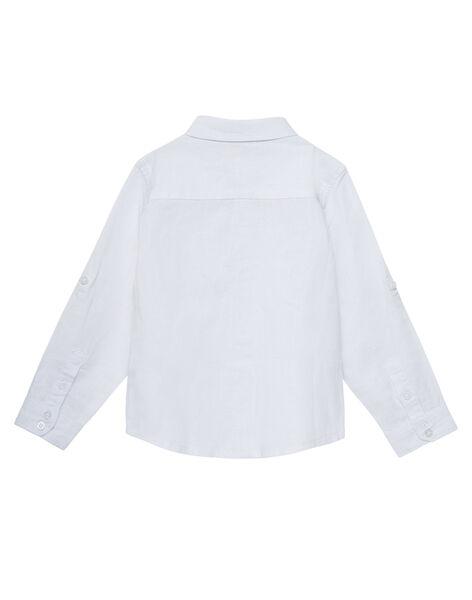 Chemise en lin blanche garçon avec noeud papillon amovible JOPOECHEM / 20S902G2CHM000