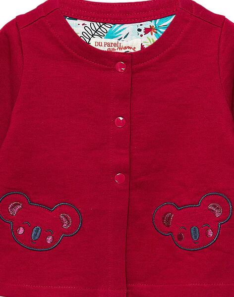 Cardigan en molleton cassis bébé fille JICLOCAR2 / 20SG0911CARD302