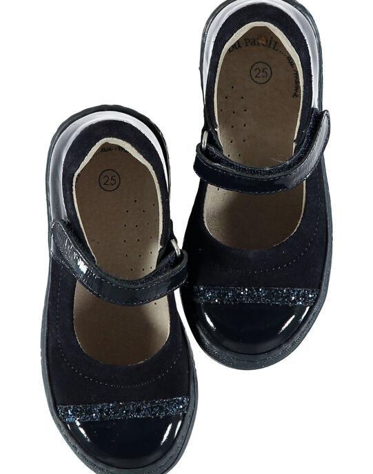 Babies croûte de cuir et verni marine enfant fille GFBABMATER / 19WK35I3D13070