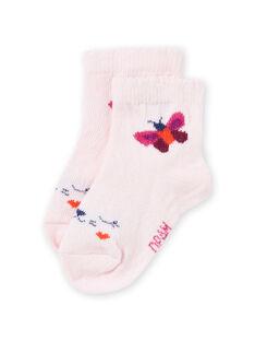Chaussettes rose nude motif papillon bébé fille MYIPASOQ / 21WI09H1SOQD319