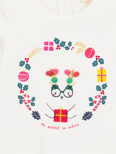 Tee shirt manches longues volantées layette fille GINOTEE / 19WG09V1TML001