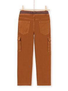 Pantalon cargo en sergé marron enfant garçon MOJOPAMAT4 / 21W90227PAN812