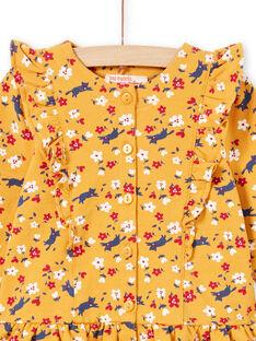Robe jaune moutarde imprimé fleuri et legging bébé fille MIMIXENS / 21WG09J1ENSB106