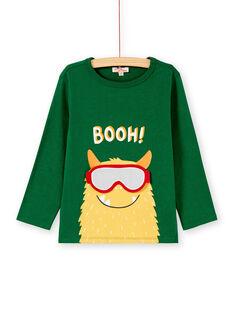 Tee shirt manches longues vert garçon KOLUTEE3 / 20W902P2TMLG611