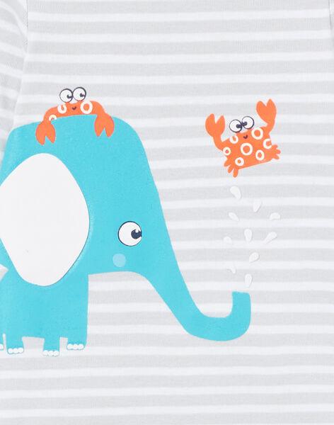 Body layette garçon à manches longues rayé éléphant LEGABODELE / 21SH1423BDL000