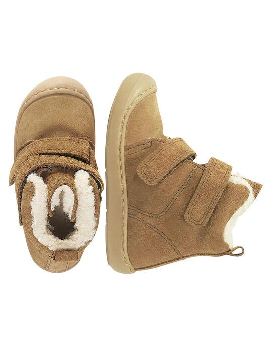 Boots croûte de cuir camel enfant garçon  GGBOOTPLAT / 19WK36X4D0D804