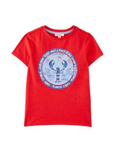 Tee shirt garçon manches courtes rouge  JOCEATI6 / 20S902N4TMCF524