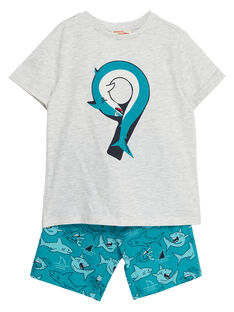 Ensemble de plage garçon tee shirt gris chiné et bermuda imprimé turquoise requin JOPLAENS1 / 20S902X2ENSJ906