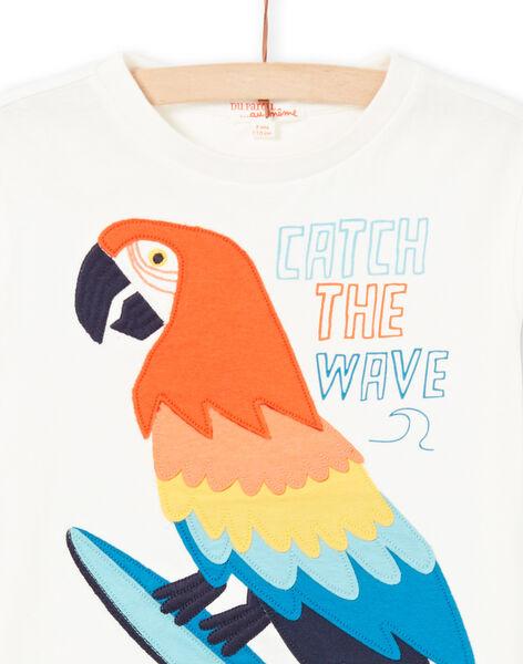 T-shirt écru à motif perroquet enfant garçon LOBONTI5 / 21S902W3TMC001