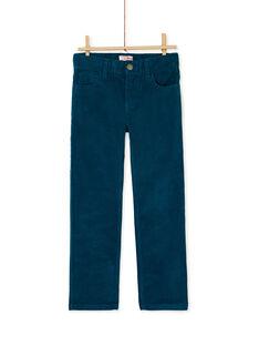 Pantalon turquoise en velours cotelé garçon KOJOPAVEL3 / 20W90253D2B714