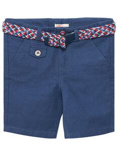 Bermuda garçon habillé bleu avec ceinture amovible JOCEABER3 / 20S902N1BER205