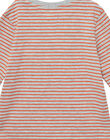 Tee shirt garçon manches longues micro rayé orange et gris JOVITEE2 / 20S902D2TML943