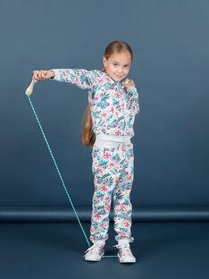 Jogging gris chiné et rose imprimé feuillage enfant fille MAJOBAJOG1 / 21W90112JGB943
