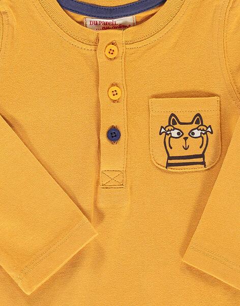 Tee-shirt manches longues jaune bébé garçon DUJOTUN5 / 18WG103BTML104