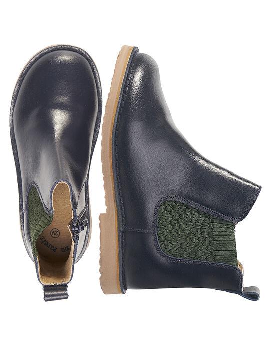 Chelsea boots cuir marine enfant garçon  GGBOOTCHEB / 19WK36X5D0D070