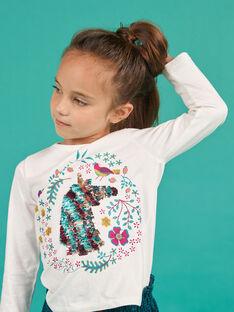 T-shirt manches longues à motif licorne en sequins réversibles enfant fille MATUTEE2 / 21W901K4TML001