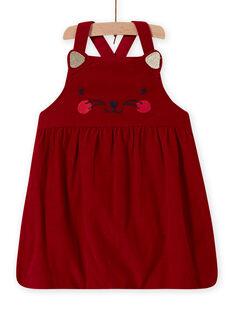 Robe boule rouge en velours à motif chat bébé fille MIMIXROB2 / 21WG09J3ROB511