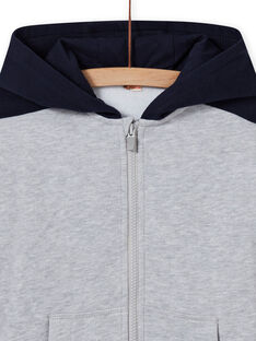 Haut de jogging à capuche gris et bleu marine enfant garçon MOJOJOH3 / 21W90211JGHJ922