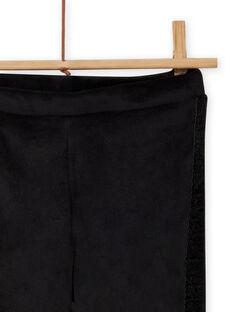 Legging noir uni en velours enfant fille MAJOLEG6 / 21W901N9PAN090