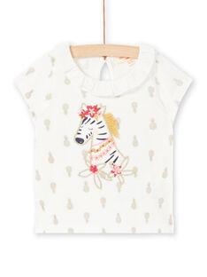T-shirt écru à imprimé ananas bébé fille LITERBRA / 21SG09V1BRA001