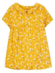 Robe en coton à manches courtes bébé fille  GIJAUROB3 / 19WG09H2ROBB107